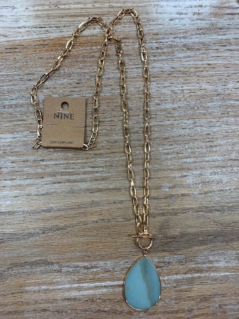Jewelry Long Gold Necklace w/ Mint Pendant