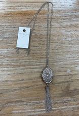 Jewelry Silver Rhinestone Locket Necklace