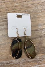 Jewelry Camo Leather Metal Earrings