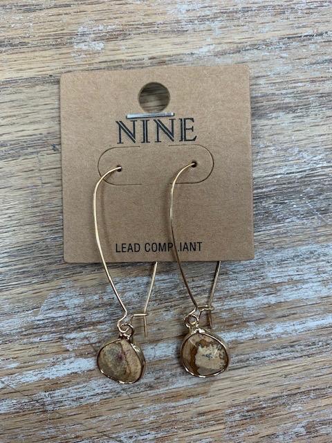 Jewelry Brown Oval Stone Long Earrings