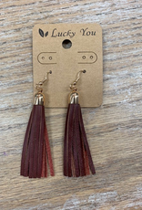Jewelry Burgundy Leather Tassel Earrings