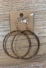 Jewelry Taupe Beaded Hoop Earrings