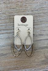 Jewelry Gold Silver Beaded Oval Earrings