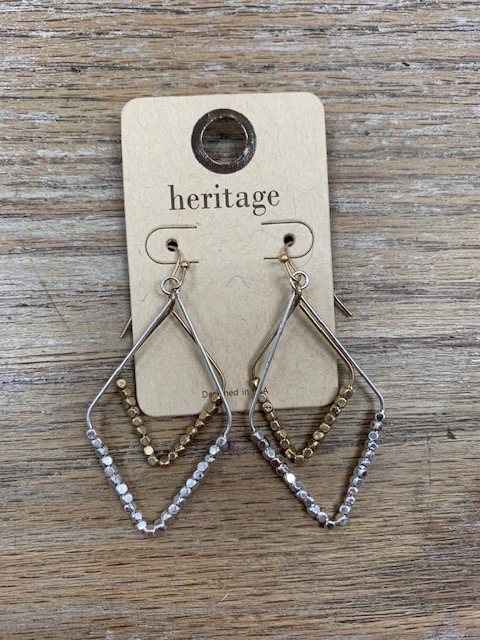 Jewelry Silver Gold Triangle Bead Earrings