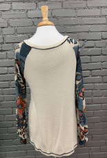 Long Sleeve Lilly LS Waffle Top w/ Aztec Sleeves