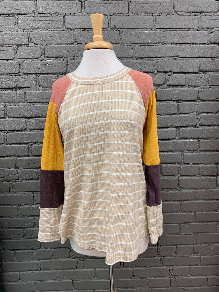 Long Sleeve Jess Color Block Sweater w/ Stripes