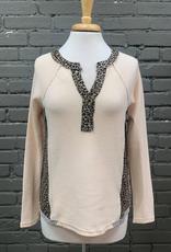 Long Sleeve Erin Waffle Knit LS w/ Leopard Trim