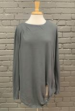 Long Sleeve Jen LS w/ Tie & Pleated Shoulder Detail