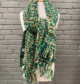 Scarf Green, Navy, Brown Long Chunky Scarf