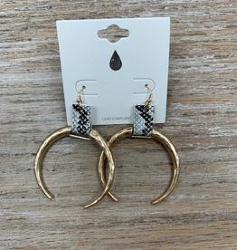 Jewelry Gold Half Moon Snake Earrings