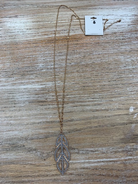 Jewelry Long Gold Necklace w/ Gray Leaf
