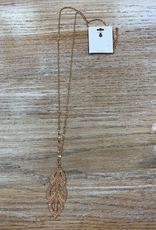 Jewelry Long Gold Necklace w/ Pink Leaf