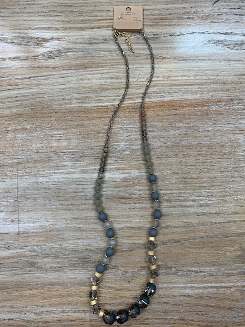 Jewelry Long Gray Beaded Necklace