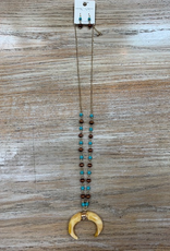Jewelry Long Half Moon Teal Brown Bead Necklace