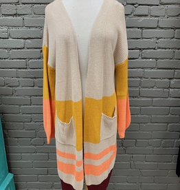 Cardigan Lana Long Knit Stripe Cardi