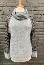 Long Sleeve Gail Stripe Sleeve Cowl Neck Top