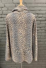 Top LeAnn Cheetah Cowl Button Top