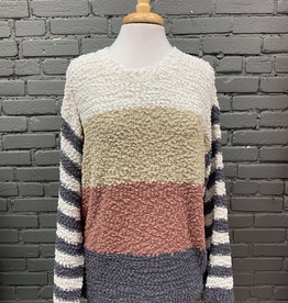 Cheryl Color Block Popcorn Sweater