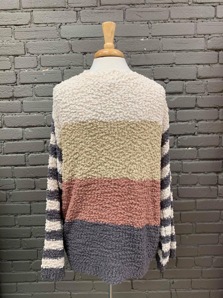 Cheryl Color Block Popcorn Sweater