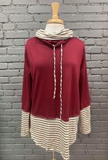 Long Sleeve Erin Double Cowl Neck w/ Stripe