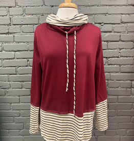 Long Sleeve Erin Double Cowl Neck w/ Stripe