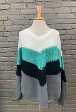 Sweater Donna Chevron Color Block Sweater