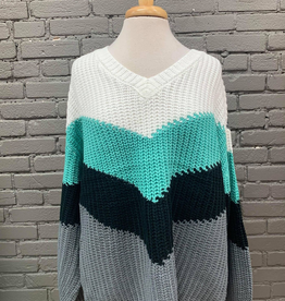 Sweater Donna Chevron Color Block Sweater