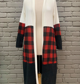 Cardigan Lynn LS Buffalo Plaid Cardigan