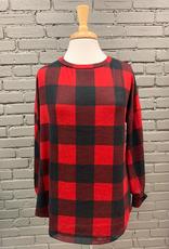 Long Sleeve Annie Plaid Top w/ Crochet Open Back