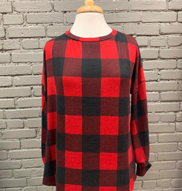 Long Sleeve Annie Plaid Top w/ Crochet Open Back