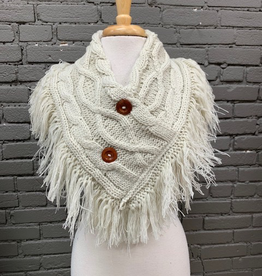 Scarf Knit Neck Warmer w/ Fringe