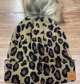 Beanie Tan Leopard Pom Beanie