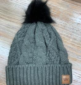 Beanie Charcoal Blk Pom Knit Beanie