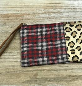 Bag Plaid Leopard Zip Pouch