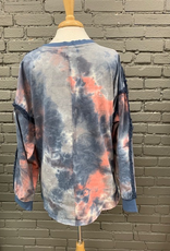 Long Sleeve Kristin Tie Dye Frayed Edge Top