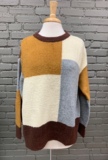 Sweater Mary Colorblock Fabric Back Sweater