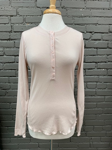 Long Sleeve Carly Blush Button Front LS