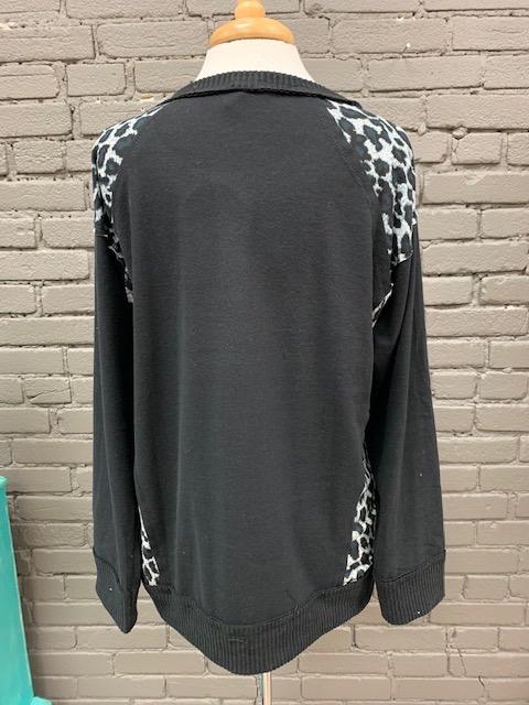 Long Sleeve Ava Black LS Leopard Sides