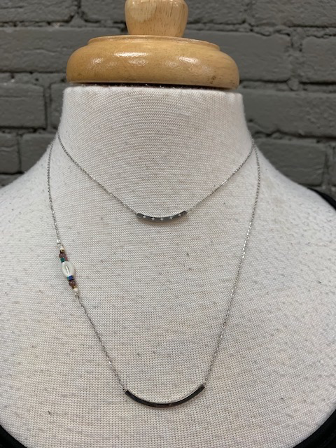 Jewelry Double Silver Bar Necklace