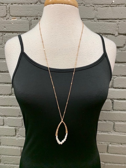 Jewelry Long Gold Pearl Oval Necklace