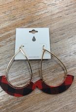Jewelry Gold Teardrop Red Plaid Earrings