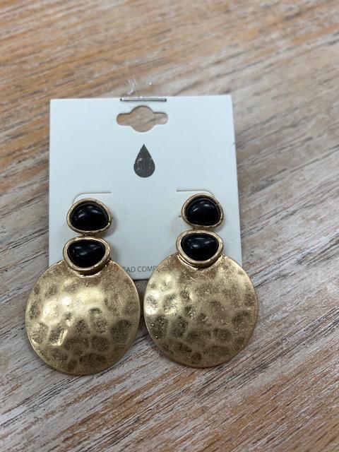 Jewelry Gold Discs Black Stone Earrings