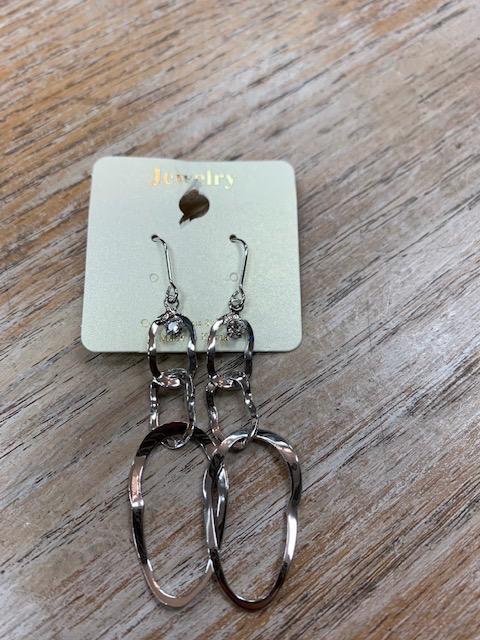 Jewelry Silver Ovals Earrings