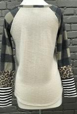 Long Sleeve Miley Waffle Print Sleeves