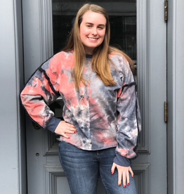 Long Sleeve Kristin Tie Dye Frayed Edge Top