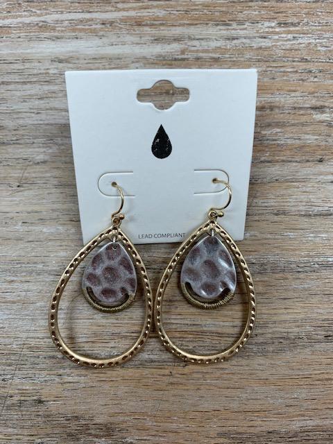 Jewelry Gold Silver Hammered Teardrop Earrings