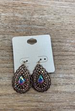Jewelry Bronze Teardrop Earrings w/ ABs