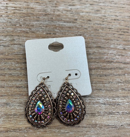 Jewelry Bronze Teardrop Earrings w/ ABs