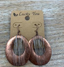 Jewelry Copper Oval Silver Wire Earrings