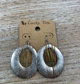 Jewelry Silver Ovals Gold Wire Earrings